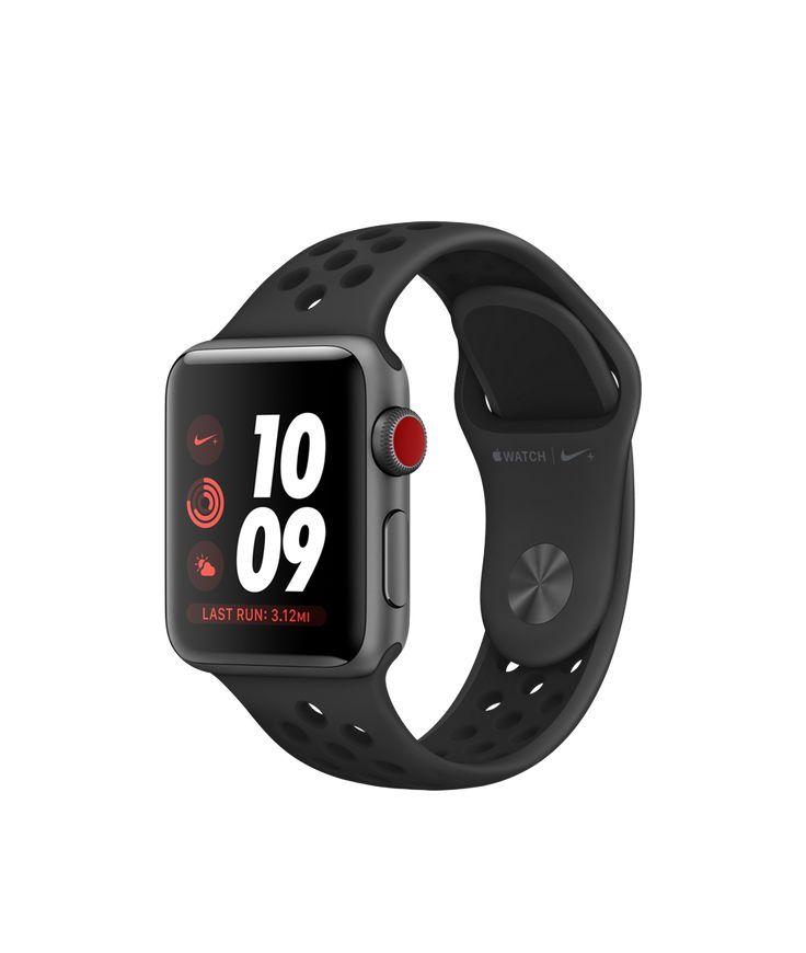 Achetez l'AppleWatch Nike+ avec boîtier en aluminium grissidéral et BraceletSport Nike Grisfoncé/Noir de 38mm et 42mm. Connectivité cellulaire intégrée. Plus d'infos sur apple.com
