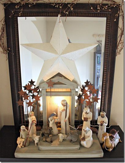 Old fashioned Christmas Nativity scene & more decorating ideas