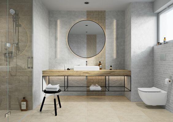 Szare płytki i mozaika w łazience
