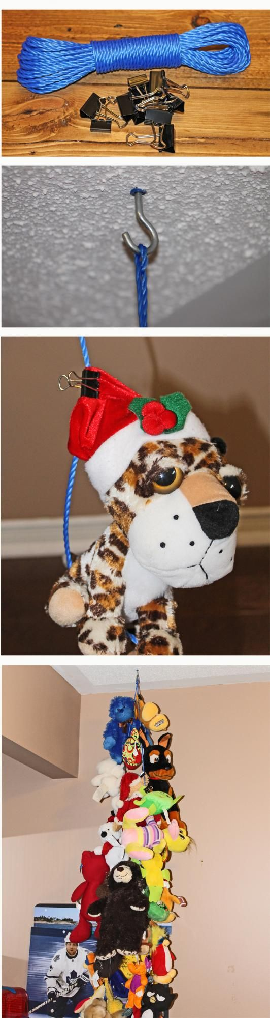 How To Organize Stuffed Animals I would tie the rope through the clips so the kids cant get them.