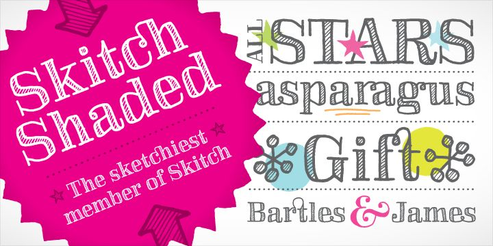 Skitch is a funky hand drawn serif with regular, solid and fill options and lots of stylistic alternates