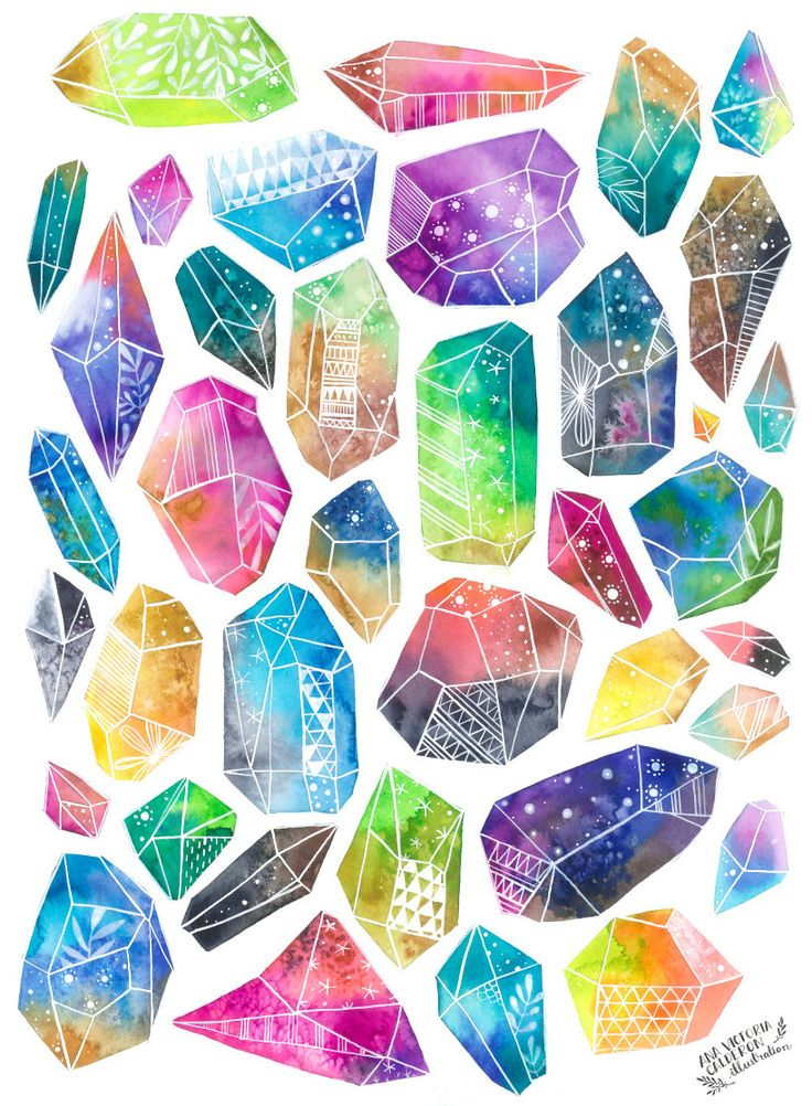 85 best crystal paintings images on pinterest gemstones for Paintings of crystals