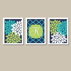 Navy Blue Lime Green Turquoise Monogram Flower Burst Letter Initial Set of 3 Prints Quatrefoil WALL Decor Abstract ART Bedroom NURSERY on Etsy, $30.00