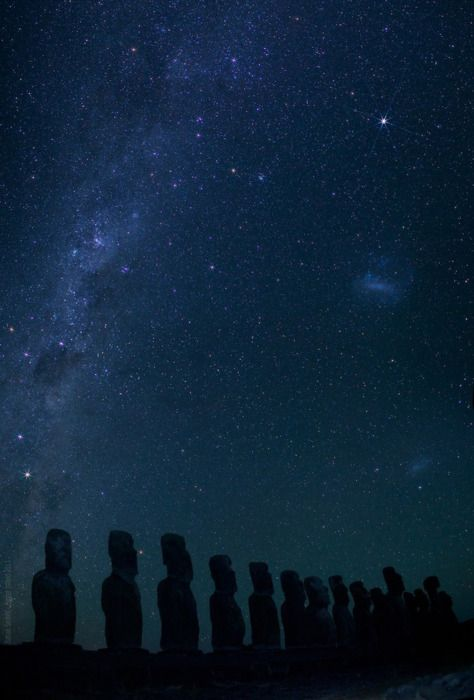Easter Island. Rapa Nui. That galaxy you see in the sky is the very same one that will destroy ours sometime in the future.
