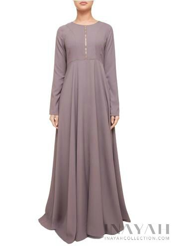 Zipper Soft Ash Abaya | INAYAH www.inayahcollection.com #inayah#hijabfashion#modestfashion#abaya