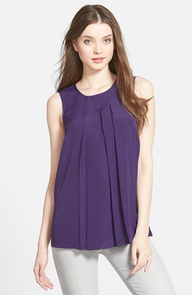 MICHAEL Michael Kors Pleat Neck Sleeveless Top available at #Nordstrom