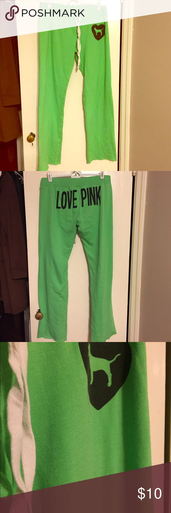Victoria's Secret Pink Sweat pants Good used condition. Lime green sweat pants. Some pilling, shown in photos PINK Victoria's Secret Pants