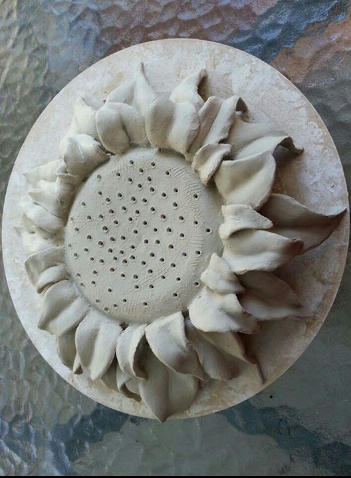 Sunflower mosquito coil burner - greenware stage