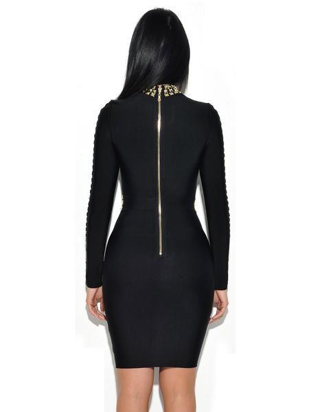 Quinn Gold Stud Detail Long Sleeve Bandage Dress