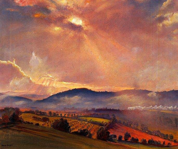 Laura Knight - The Open Air - Worcestershire scene featuring the Malvern Hills in the background.
