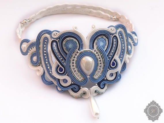 Soutache handmade blue jewelry. Cord necklace.Handmade
