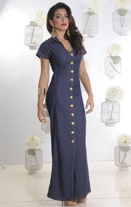 570698000f75 VESTIDO LONGO JEANS COM BOTÕES FRENTE | Vestidos longos jeans com ...