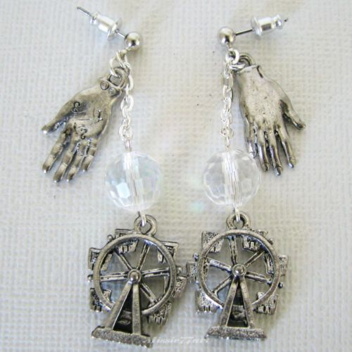 Wheel of Fortune crystal ball Fortune Teller earrings surgical steel ear posts by Missie77art Jewellery on eBay