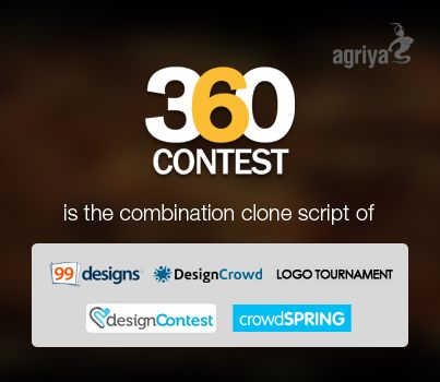 @Agriya 360Contest is a new generation design contest script. It is a combination clone script of 99design, design crowd, logotournament and CrowdSpring. It has revolutionary features and multiple revenue options which assist you to craft a design contest website in a short span of time.  http://www.clonescript.com/2013/09/360contest-delightful-design-contest-script.html