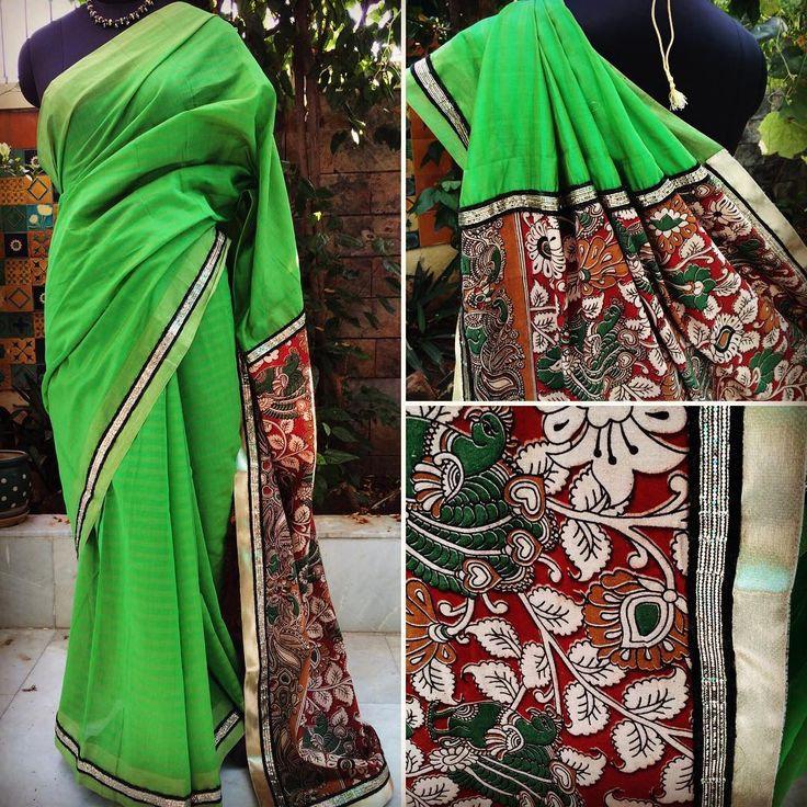 "Presenting ""AMRAPALI"" A simple & elegant green cotton silk saree with Kalamkari pallu in vivid colors. Finished with black & dull gold border.  Blouse: Black Semi Silk Price: INR 3800 + shipping  For purchases, email naayaab.online@gmail.com Shipping charges additional as applicable  #sarees,#saris, #indiandesigners ,#handmade, #instalove, #desibride, #bollywoodfashion, #style,#indianbeauty, #classy, #instafashion, #indiancouture, #statementpieces, #designersarees, #designersaris…"