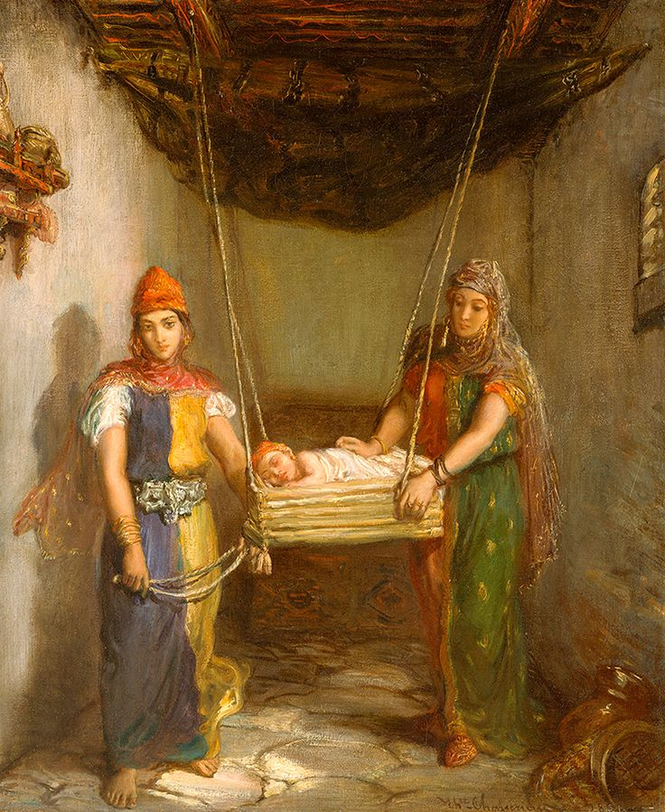 """Chasseriau Theodore - Scene In Jewish Quarter Of Constantine 1851 Frha  (from <a href=""""http://www.oldpainters.org/picture.php?/52016/category/16840""""></a>)"""