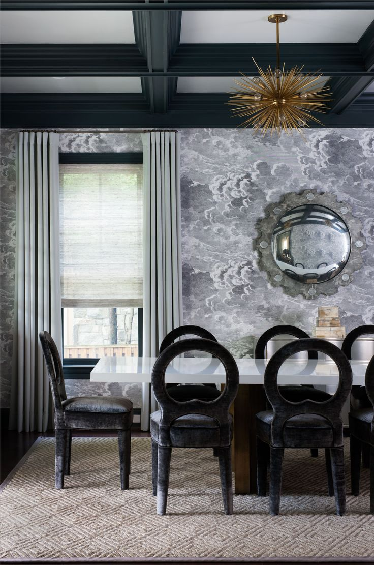 Modern chic dining room design by Ella Scott Design. Cole & Son formasetti mural. Come see the dramatic Before & After: Fussy Traditional to Urban Chic! #diningroom #blackandwhite #mural #modern #urbanchic