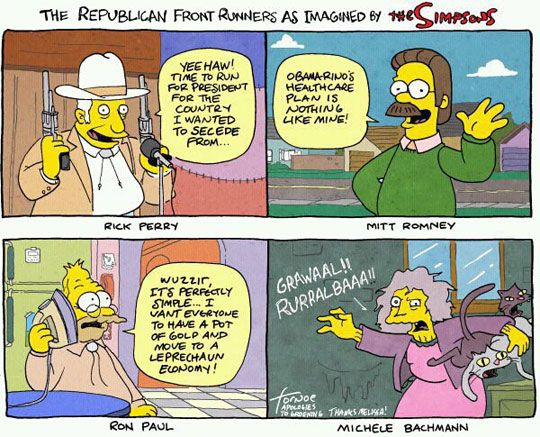 Republican Front Runners as imagined by The Simpsons