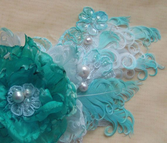 FREE SHIPPING Turquoise White Hairpiece by PassionateForBeauty, $79.00