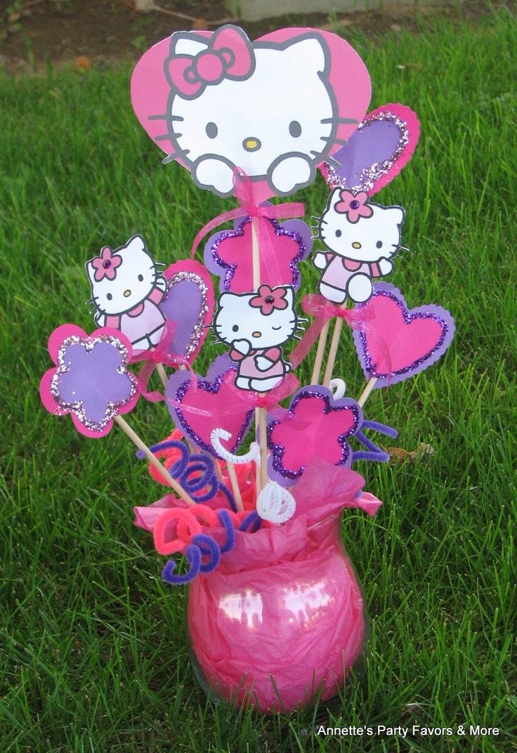 Scrapbook ideas hello kitty - Hello Kitty Centerpiece Picks 20 00 Via Etsy