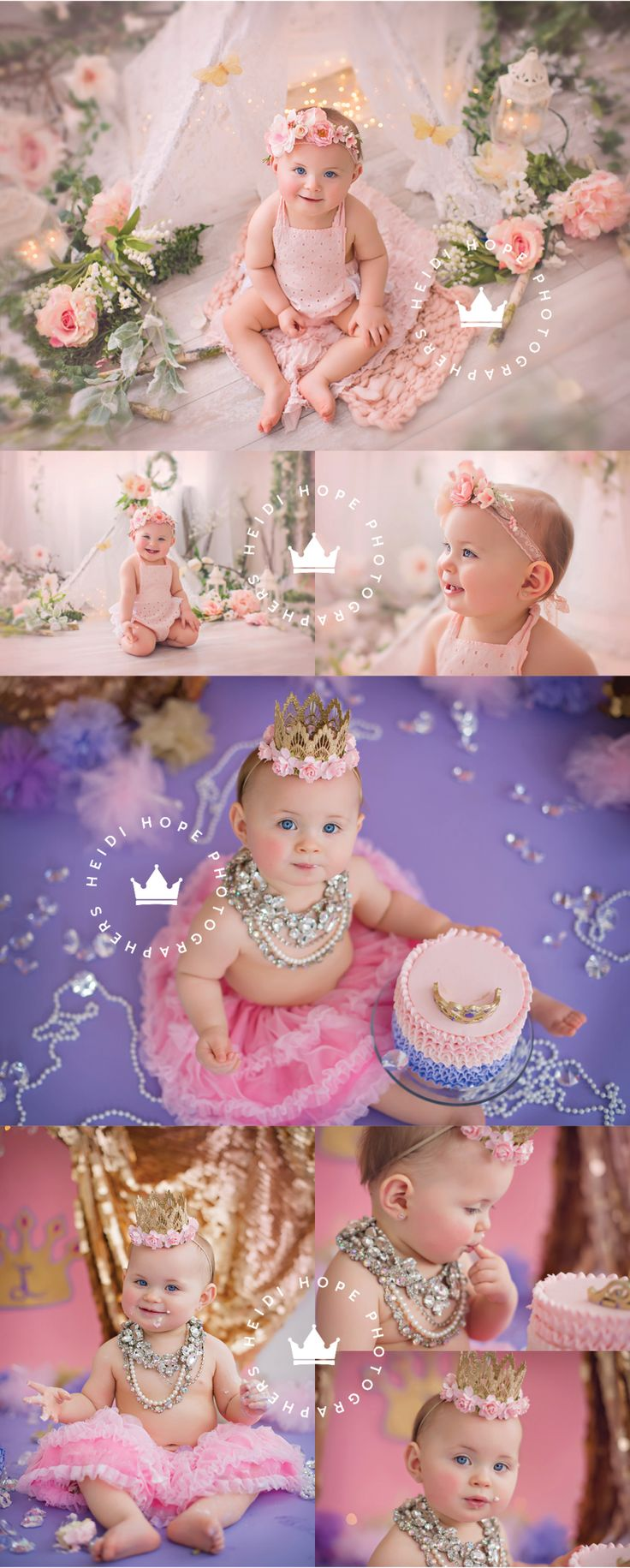 Princess L's Royal First Birthday Cake Smash!  | Heidi Hope Photography