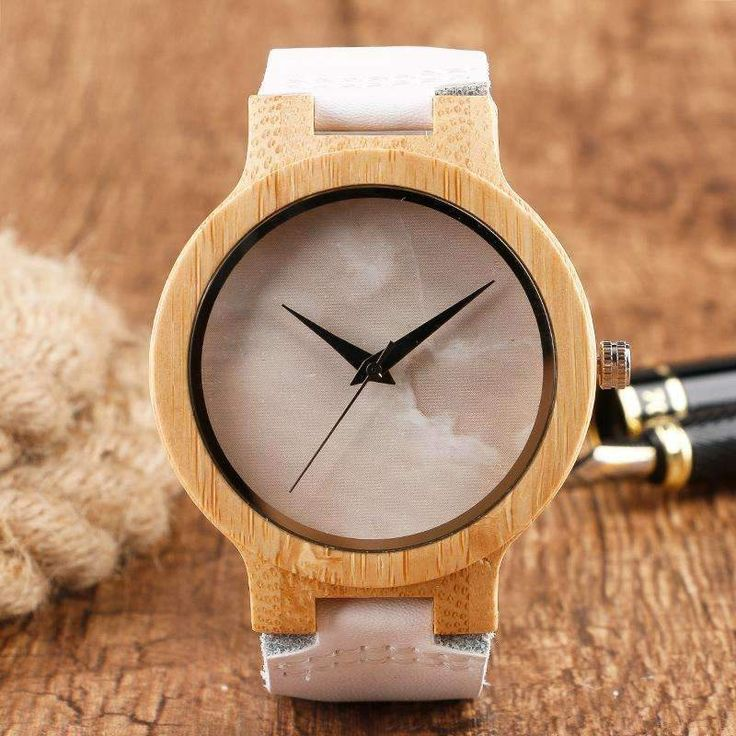 Buy Bamboo Watch with Soft Leather Straps and Marble Texture Dial Handmade Wristwatch at All Wood Watch for only $41.99