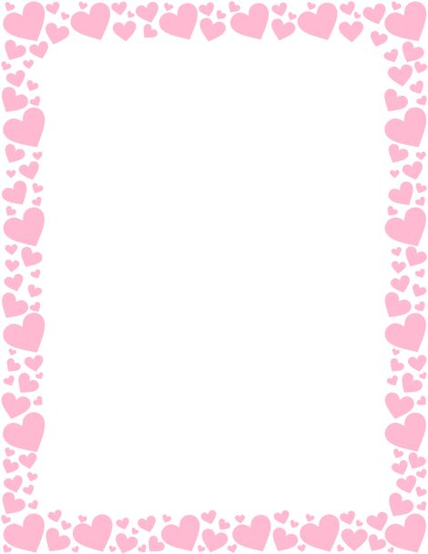 Printable pink heart border. Free GIF, JPG, PDF, and PNG downloads at http://pageborders.org/download/pink-heart-border/