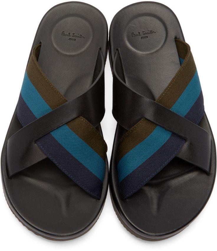 Paul Smith Jeans Black Striped Gain Sandals