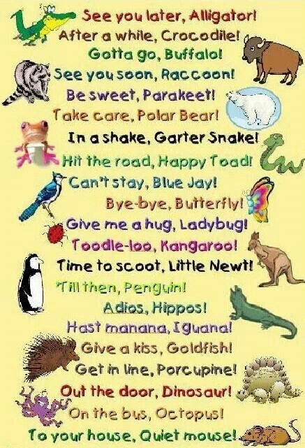 Cute substitutions for 'See ya later, Alligator'!