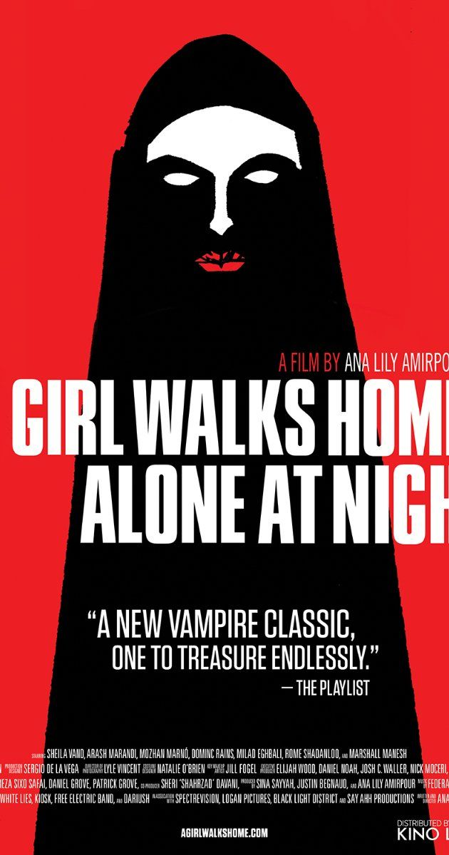 A Girl Walks Home Alone at Night (2014) Directed by Ana Lily Amirpour.  With Sheila Vand, Arash Marandi, Marshall Manesh, Mozhan Marnò. In the Iranian ghost-town Bad City, a place that reeks of death and loneliness, the townspeople are unaware they are being stalked by a lonesome vampire.