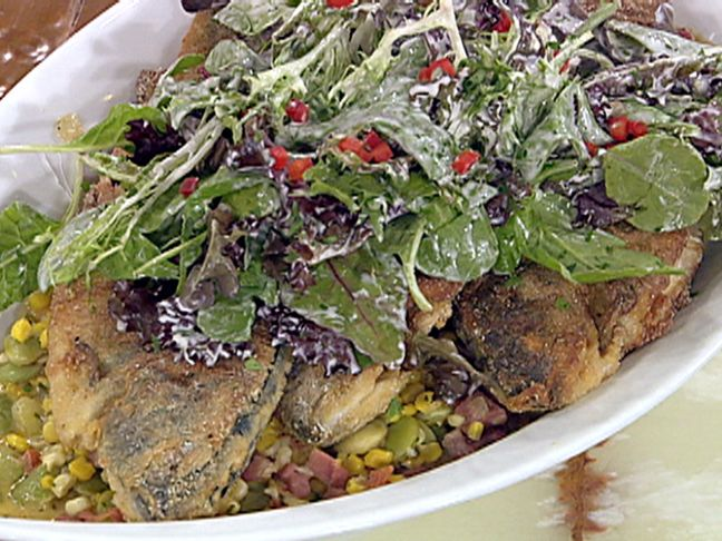 Pan-Fried Cornmeal Crusted Trout with Succotash and Mixed Baby Greens ...