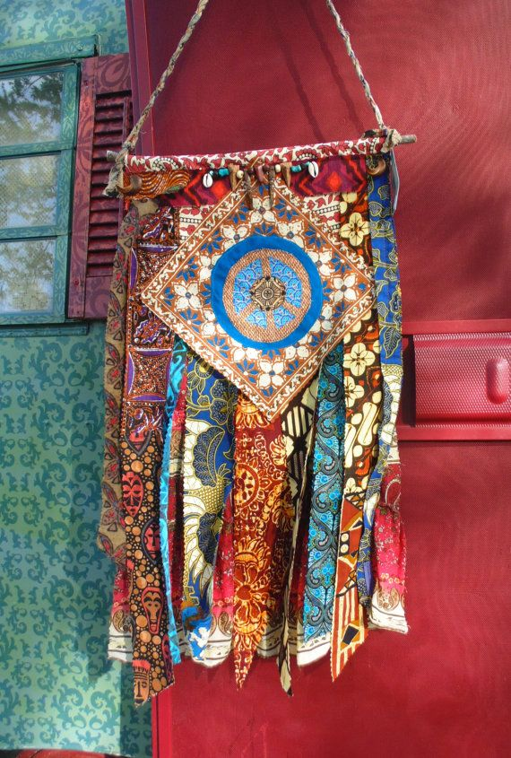 Bohemian hippie bright Prayer Peace flag by TheSleepyArmadillo www.thesleepyarmadillo.com