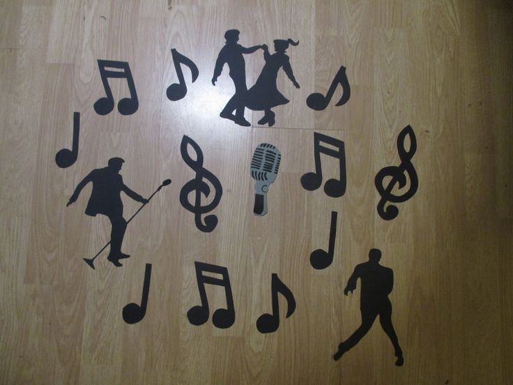 Little music notes and Elvis silhouettes.
