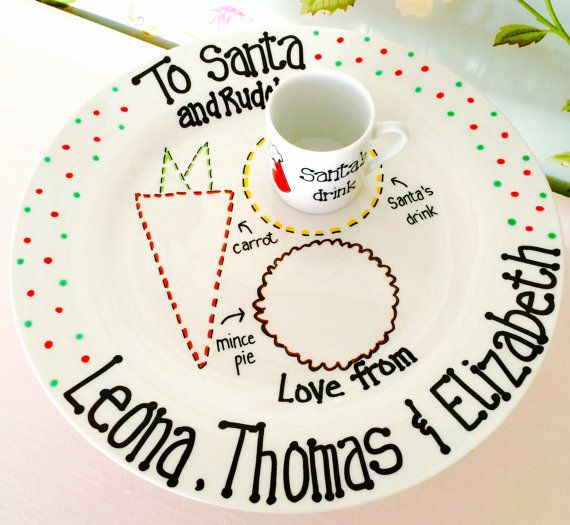 Christmas Eve Plate for Santa/Father by PrettyPlatesPlease on Etsy
