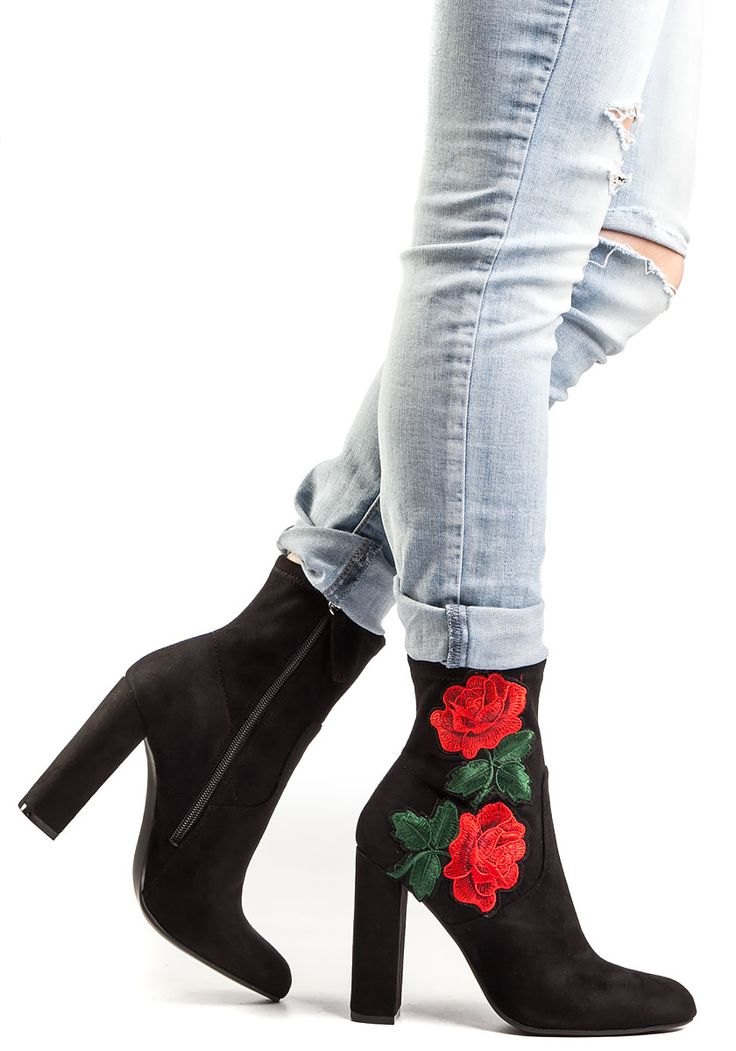 Steve Madden Edition Black Microsuede Embroidered Boot