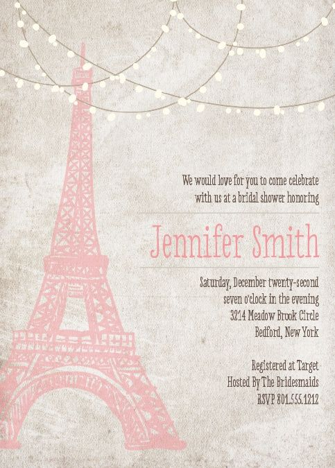 The Paris invitation is classy and elegant. It's a classic! Edit the colors and fonts and personalize it anyway you want!