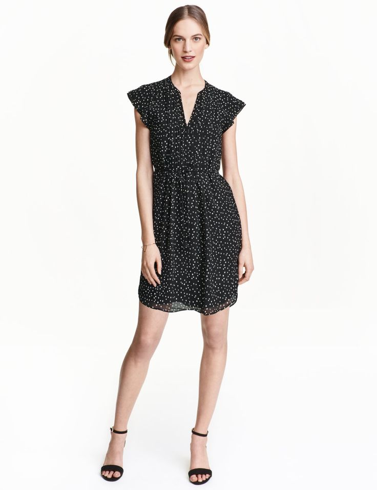 Check this out! Knee-length dress in airy, woven fabric with butterfly sleeves. Concealed buttons at front, tie at waist, and gently rounded hem. Lined. - Visit hm.com to see more.