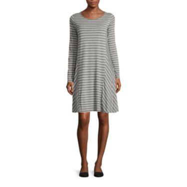 Size Medium jcp | Stylus™ Long-Sleeve Swing Dress - Tall
