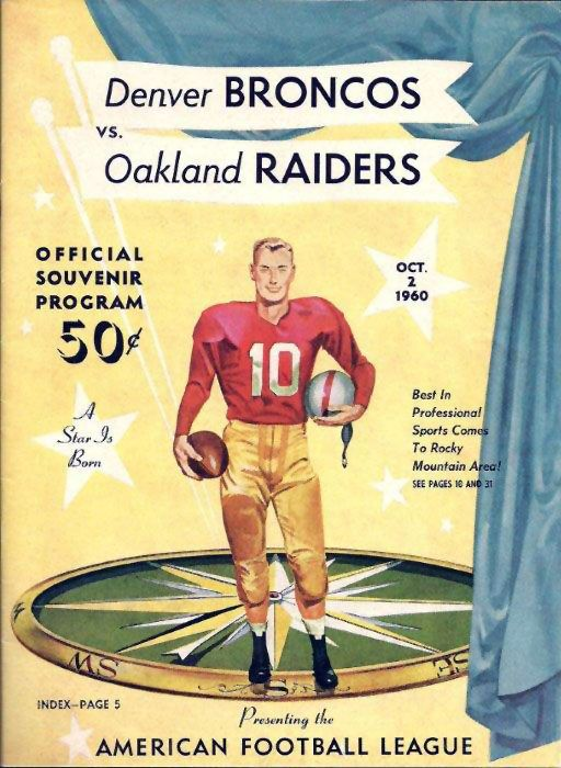 1960 AFL Game Program - Oakland Raiders vs. Denver Broncos