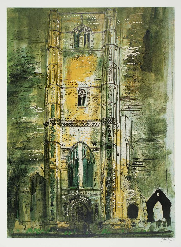 John Piper (1903 – 1992) is considered to be one of the most significant British artists of the 20th Century  1971+Wymondham,+Norfolk+screenprint
