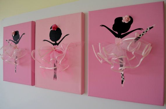 Dancing Ballerinas Wall Art. Set of three pink by FlorasShop, $42.00