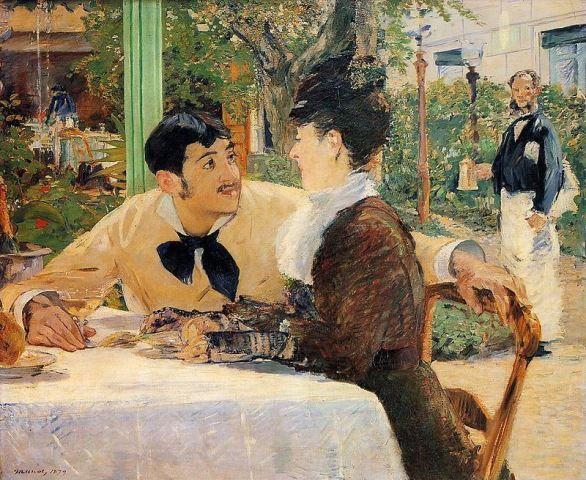 Édouard Manet - Chéz le Père Lathuille – 1879 - read about at http://www.arteeblog.com/2015/12/a-historia-da-pintura-de-edouard-manet.html