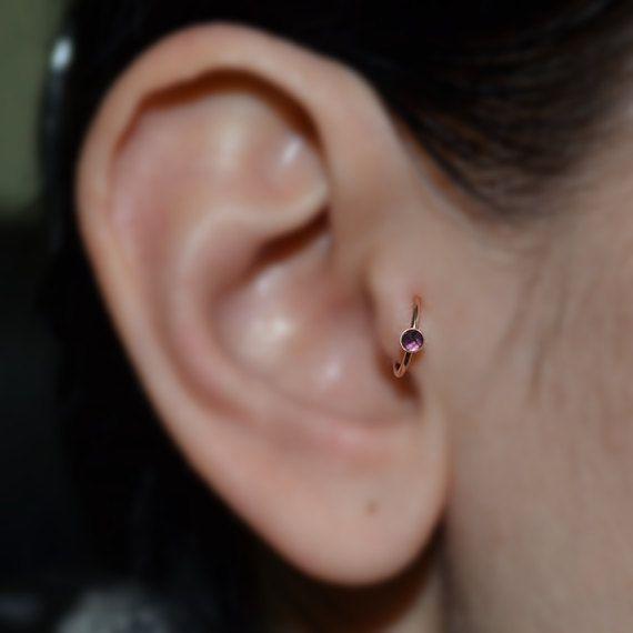 Améthyste Tragus Hoop boucles d'oreilles par ModernJewelBoutique