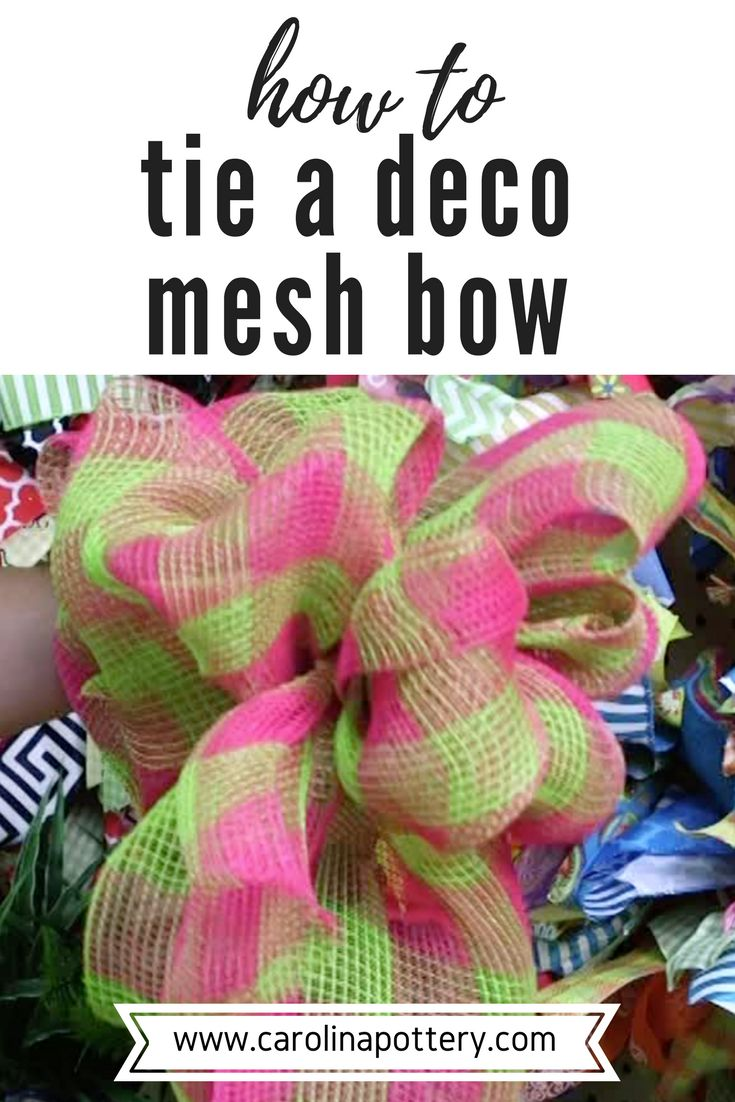 Learn how to tie a deco mesh bow in this diy tutorial video! There are all kinds of uses for deco mesh ribbon, including making many types of wreaths. However it can also be used to make lovely bows for decoration! Visit your local Carolina Pottery store for the largest selection of deco mesh around, or shop online at www.carolinapottery.com!