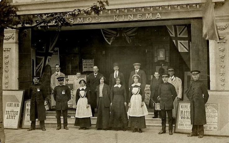 The Manager and Staff of the Kosmos Kinema on Calverley Road c1915. The cinema opened in 1913 and closed in 1960.