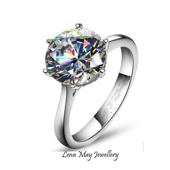 Sterling Silver 4ct Synthetic Diamond Solitaire by LenaMayJewelley