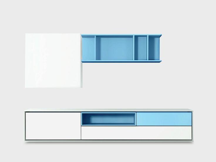 Contemporary style wooden storage wall AURA C4-3 by TREKU design Angel Martí, Enrique Delamo