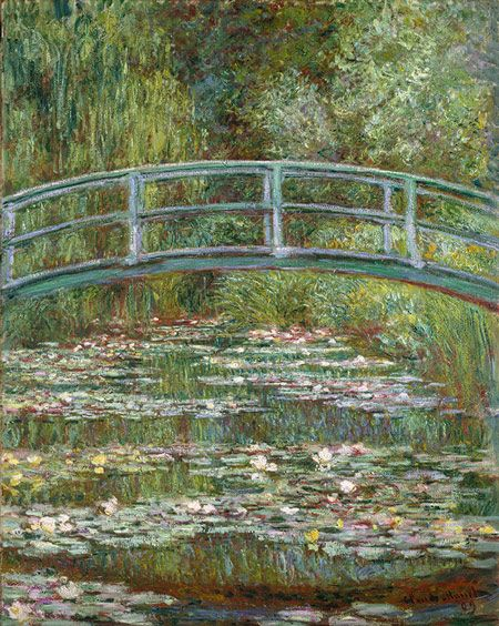 "n 1893, Monet, a passionate horticulturist, purchased land with a pond near his property in Giverny, intending to build something ""for the pleasure of the eye and also for motifs to paint."" The result was his water-lily garden."