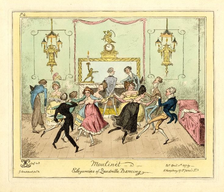 Moulinet-Elegances of Quadrille Dancing. George Cruikshank, 11 April 1817. Two sets of four dance vigorously holding hands, the ladies together, but turning towards their partners. Two men talk in front of the fireplace, a third bows to a seated lady. All are dandified, their dress burlesqued . The room is lit by fantastic gas chandeliers in the form of Chinese mandarins. On the chimney-piece is a statuette of an athlete holding up a lighted candle