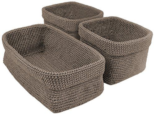 DII Home Essentials Hand Crocheted Storage Baskets for Dr...